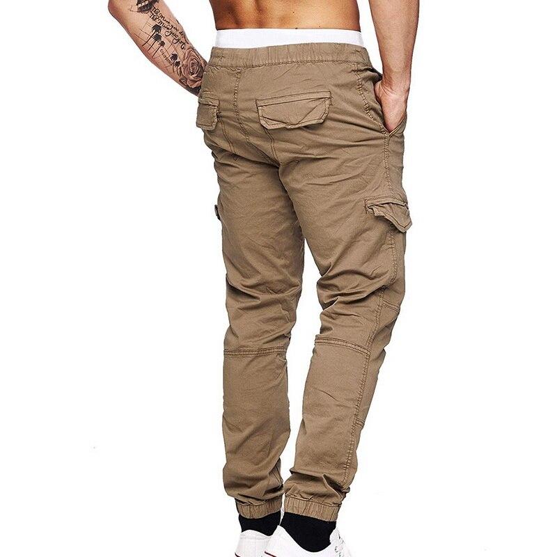 2020 Mens Casual Solid Multi-pocket Trousers Slim Drawstring Cargo Pants Male Autumn Winter Jogging Sweatpants 3XL