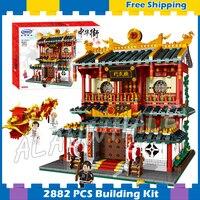 2882pcs China Town Creator Street Martial Art School 01004 Model Building Blocks Toys Bricks Compatible With Lego