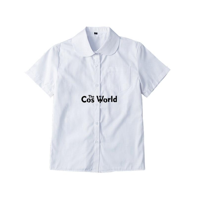 XS-5XL Men's Women's Summer Round Neck Short Sleeve Slim White Shirt Tops Blouses For JK School Uniform Student Clothes
