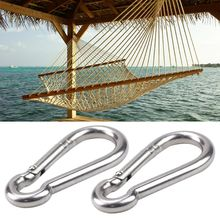 2pcs Stainless Steel Multifunctional Spring Snap Hook Carabiner Clips for Hammock Outdoor Hiking Camping Quick Link
