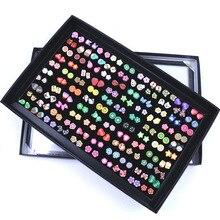 100 Pairs/Set Random Plant Fruit Animal Stud Earrings for Women Girls Kids Jewel
