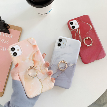 Luxury Gray Red Marble Soft Silicone Case With Finger Ring For iphone 12 Mini 11 Pro Max 7 8 Plus X XR XS MAX Holder Cover image