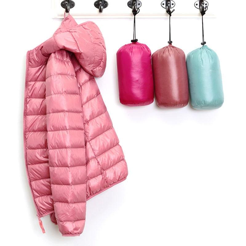 Winter Women's   Jackets   Autumn Down Female   Jacket   Coats Ultra Thin Hooded Spring   Basic     Jacket   Women Duck Pink Black Large Size