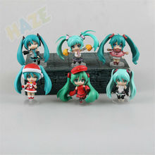 6pcs/set Hatsune Miku Mini Action Figure Weihnachten Ver. Anime Figure Toys Model Collection Kids Gifts No Box