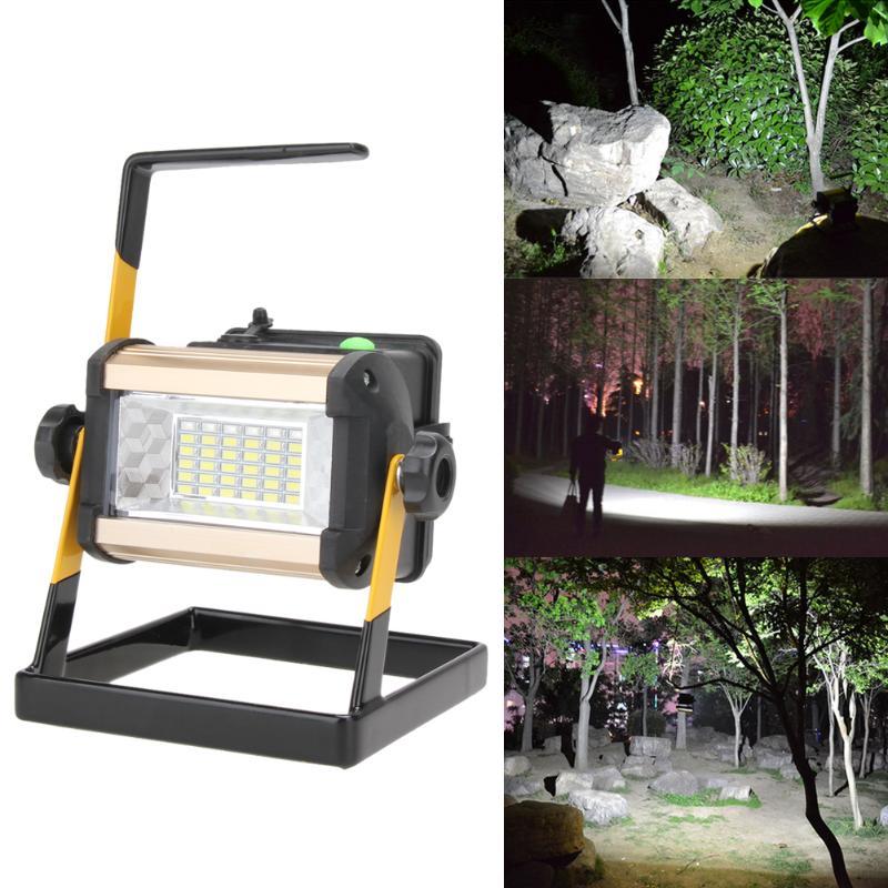 Перезаряжаемые 50 Вт 2400LM светодиодный US прожектор, точечный светильник, Портативный прожектор Водонепроницаемый IP65 50 Вт 2400LM 36 светодиодный 3-режимный напольный светильник