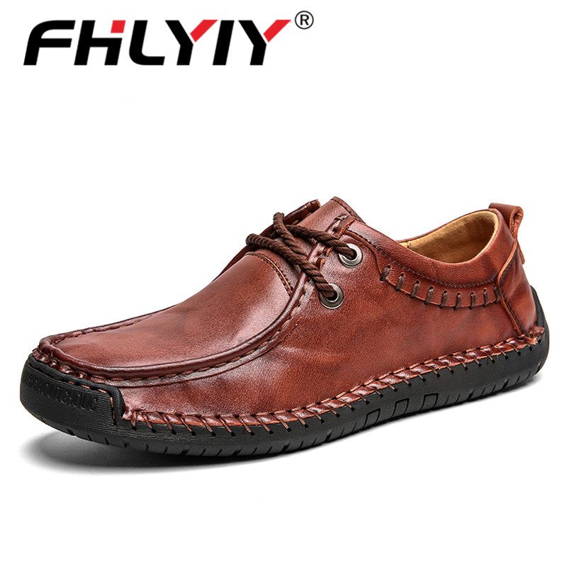 Fhlyiy Brand 2019 New High Quality Men'S Leather Casual Shoes Fashion Men Flat Shoes Spring Autumn Mens Moccasins Shoes  Black
