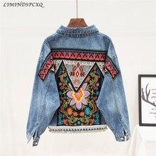Boho Denim Jacket For Women Autumn Floral Appliques Embroide
