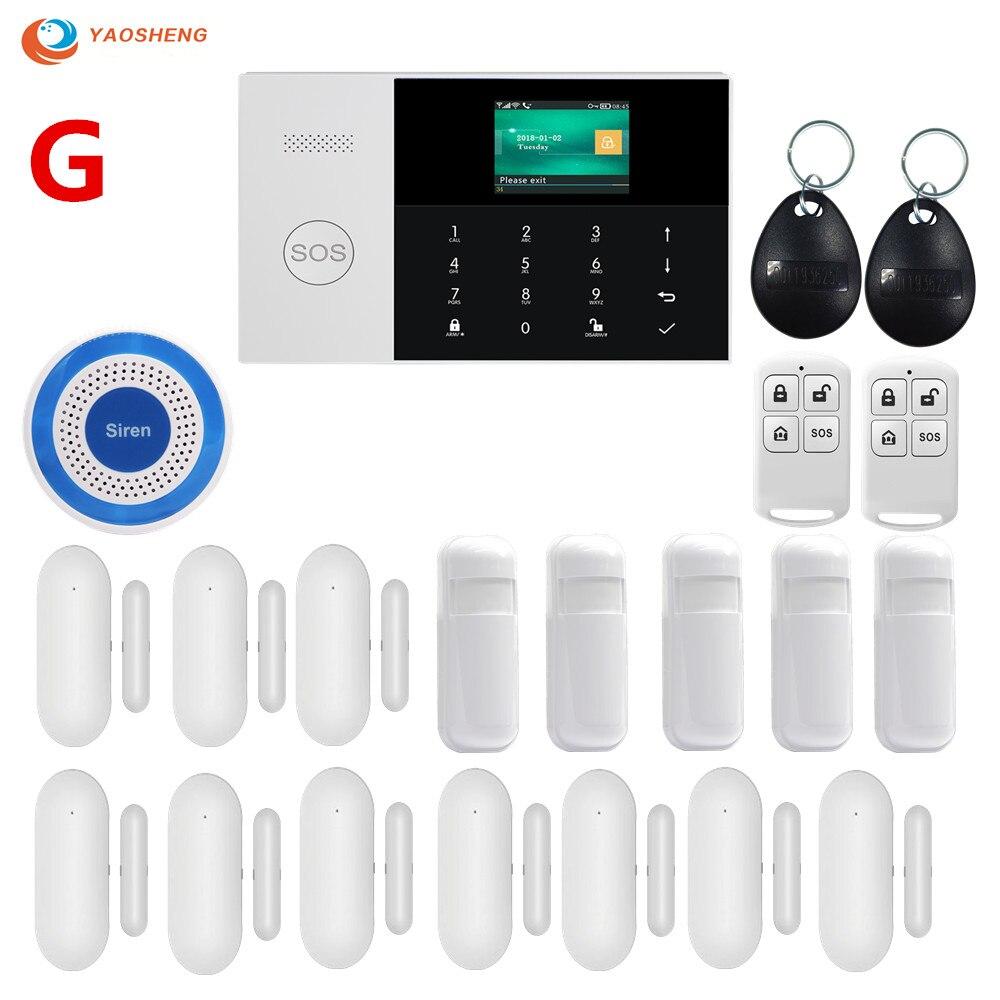 GSM GPRS WIFI Selecionável Sem Fio Em Casa sistema de Alarme de Segurança com Controle de APLICATIVO LCD Teclado de Toque com Sensor De Movimento
