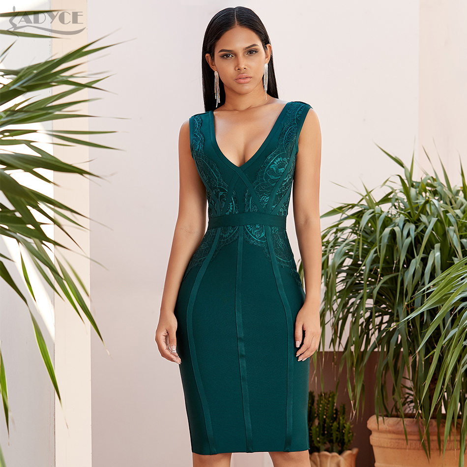 Adyce 2020 New Summer Tank Bodycon Bandage Dress Women Sexy Sleeveless Lace Green Club Celebrity Evening Party Dresses Vestidos