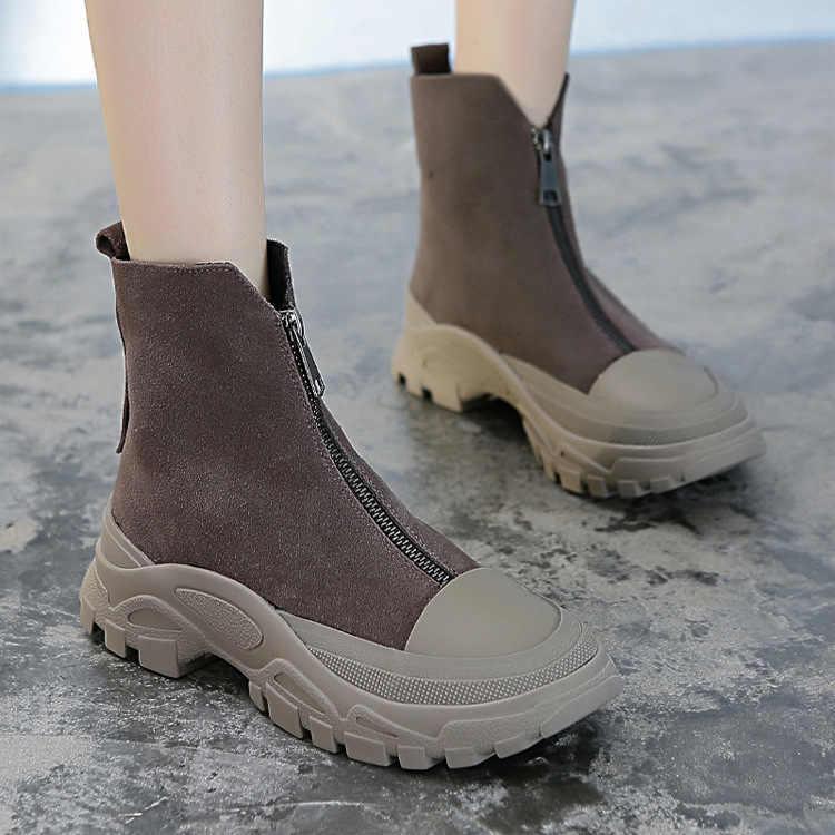 Frauen Winter Stiefel Aus Echtem Leder Zip Runde Kopf Plattform Stiefel Weibliche Stiefeletten Schwarz Korean Dicken Boden Plattform Schuhe