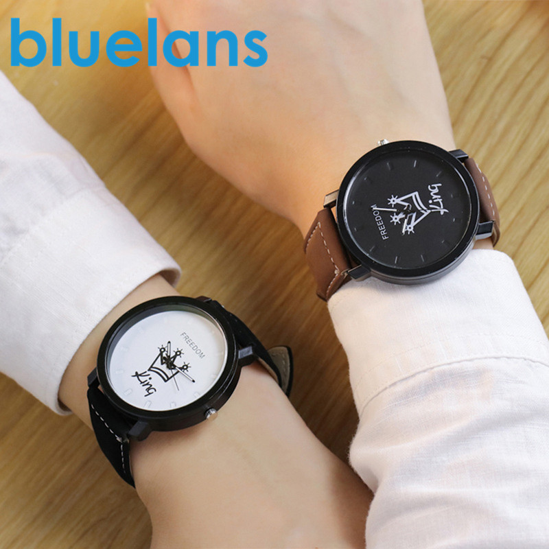 New Relogio Couples Watch King & Queen Leather Quartz Watch Mens Ladies Fashion Sport Clock Men Women Watches Gifts Dropshipping