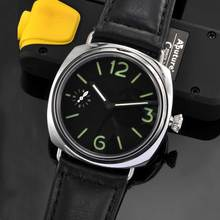 цена Luxury PARNIS Black Sterile Dial Leather strap Luminous 6497 Hands Winding movement men's Watch онлайн в 2017 году