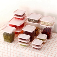 17 יח'\סט מקרר מצנן פלסטיק תיבת אחסון מזון מיכל במיקרוגל מזון טרי אחסון תיבת אטום מצנן מטבח קופסאות אוכל    -