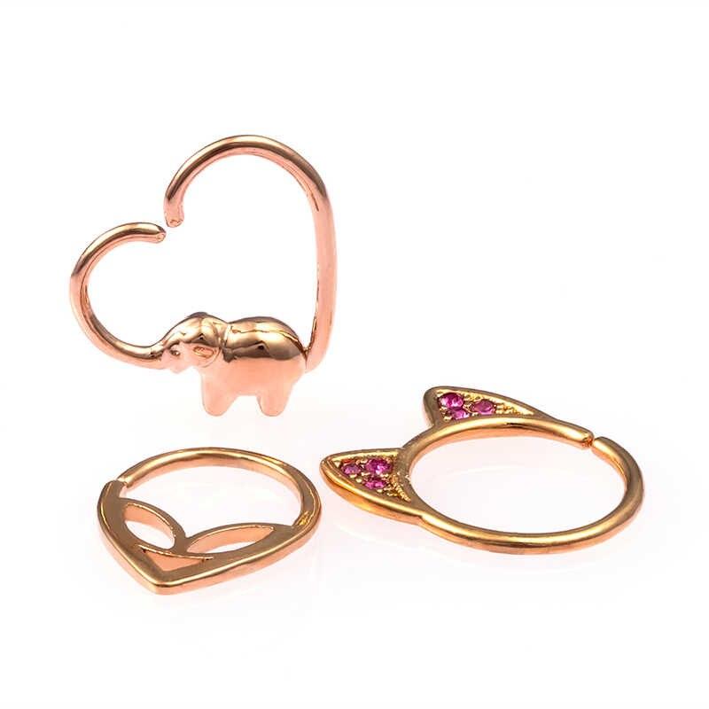 1pc nariz anel aro septo anéis cartilagem de cobre brinco piercing hélice orelha parafuso prisioneiro elefante estrangeiro em forma de tragus corpo jóias 18g