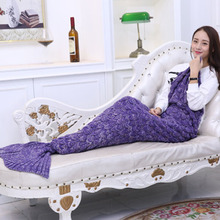 Blanket, mermaid blanket, knitted scale, air-conditioning blanket, mermaid tail sofa blanket, solid color blanket, cover blanket super soft color block knitted mermaid tail blanket