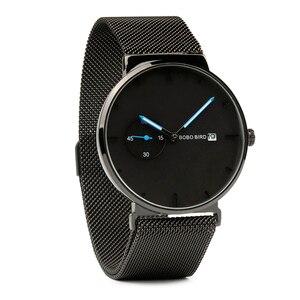 Image 4 - Relogio masculino BOBO BIRD luksusowy męski zegarek minimalistyczny czarny wzór siatka ze stali nierdzewnej pasek wyświetlanie daty prezenty własne logo