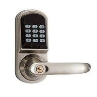 Fechadura da porta eletrônica inteligente código de bloqueio da porta chaves mecânicas teclado digital fechadura senha keyless fechadura eletrônica casa inteligente|Trava elétrica| |  -