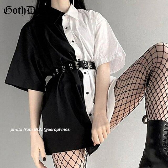 Goth Dark Loose High Waist Mini Dress Patchwork Summer Fashion Gothic Women Dress Turn-Down Collar Casual Party Dresses 2021 90s 1