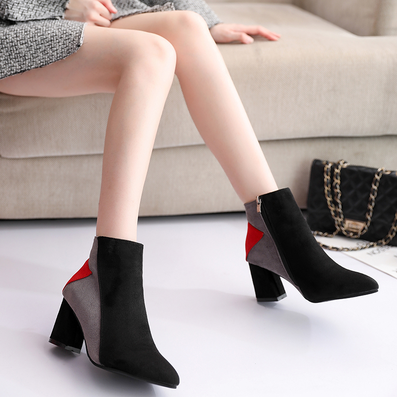 Koznoy Women Boots Fashion Autumn Winter Zipper Patchwork Dropshipping High Heel Breathable Pointed Toe Square Heel Women Boots in Ankle Boots from Shoes
