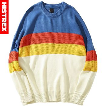 Color Block Patchwork Sweater Pullover Hip Hop Men Knitted Sweater Retro Vintage 2020 Streetwear Striped Sweater Cotton Autumn фото