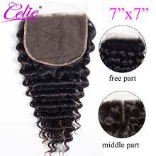 Perruque Lace Closure wig brésilienne bouclée – Celie Hair, cheveux 100% naturels, Deep Wave, 7x7, 10-20 pouces, partie centrale libre