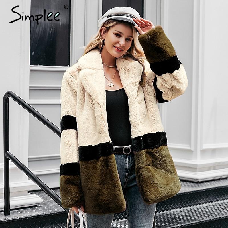 Simplee Elegant shaggy women fur coat Office autumn winter female fur jacket Luxurious lapel stitching ladies chic warm outwear