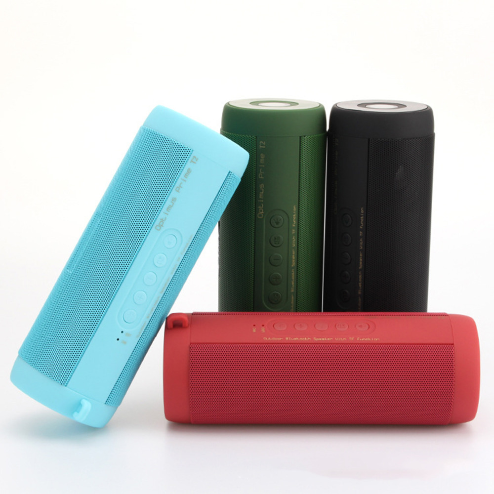 T2 Bluetooth Speaker Waterproof Portable Mini Outdoor Column Speaker Support TF Card FM Stereo Hi-Fi Loudspeaker
