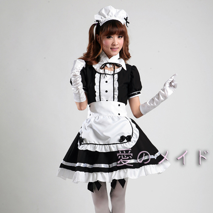 Nightclub Restaurant <font><b>Sexy</b></font> Maid <font><b>COS</b></font> Uniform Costume S-XL Classic Japanese Anime Maid Costumes Stage Performance Cosplay Clothing image