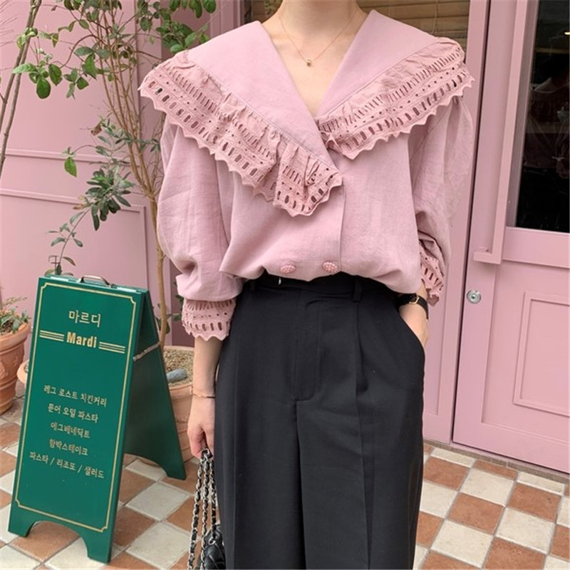 Alien Kitty Gentle Lace Hollow Out Ruffles 2020 Office Lady Solid Women Chic Stylish Loose High Street Feminine Casual Shirts