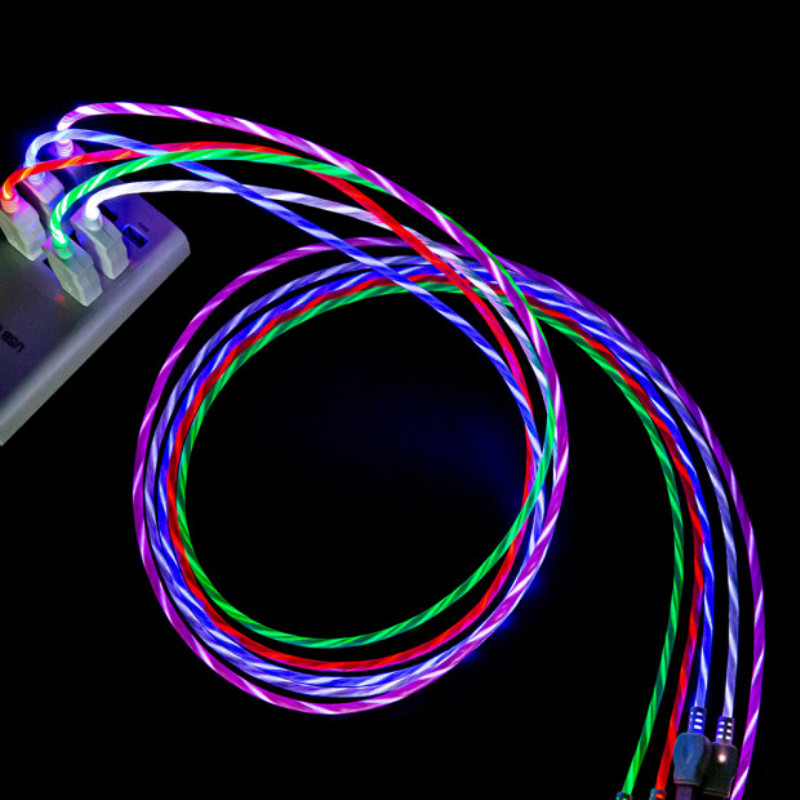 Galleria fotografica LED Light 2.4A Fast Micro USB Type C Data Cable Luminous USB Charging Cable for Samsung Galaxy S9 S8 Huawei Charge Wire Cord