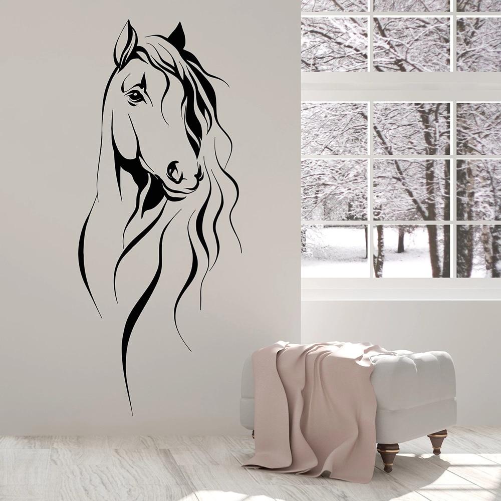 Красивая наклейка на стену с головой лошади, украшение для животных, офисный виниловый Настенный декор для гостиной, украшение в китайском ...