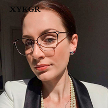 XYKGR new trend cat eye metal glasses frame ladies retro flat mirror mens optical computer reading