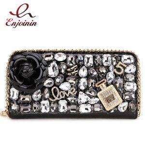 Image 1 - Hohe Qualität Luxus Diamant Blume Pu Leder Mode Geldbörse Karte Halter Lange Brieftaschen Frauen Clutch Tasche Geld Tasche Zipper tasche