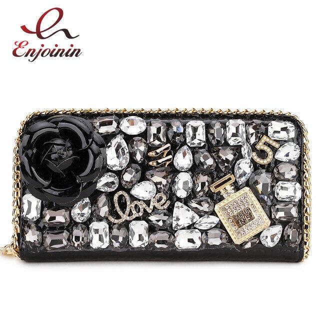 Hohe Qualität Luxus Diamant Blume Pu Leder Mode Geldbörse Karte Halter Lange Brieftaschen Frauen Clutch Tasche Geld Tasche Zipper tasche