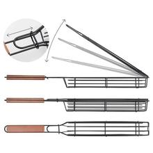 Grilling Basket Barbecue-Tool Kabob Wooden-Handle Reusable for Co-Worker Anti-Corrosion