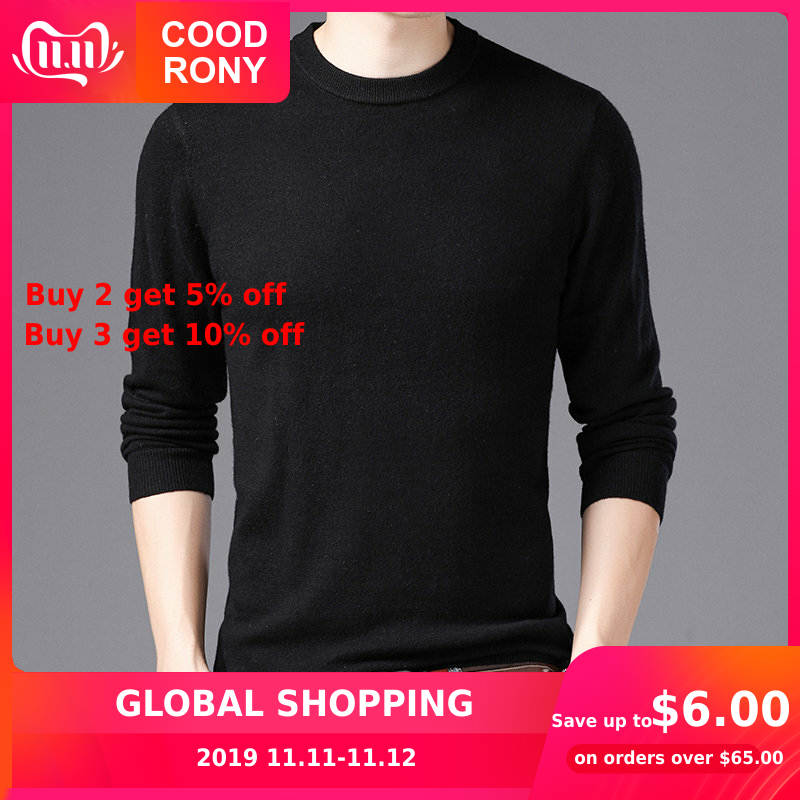 COODRONY Brand Sweater Men O-Neck Pull Homme Autumn Winter 100% Pure Merino Wool Sweaters Soft Warm Cashmere Pullover Men 93001