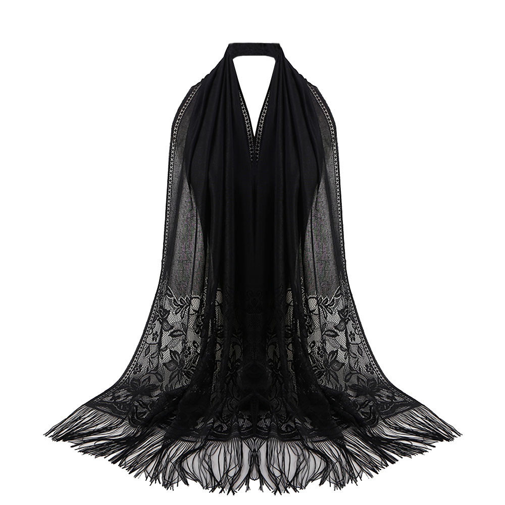 Women Muslim Islamic Tassel Sun Protection Scarf Female Lace Hollow Long Hijab Scarf Shawl Wrap Stole Lady Long Soft Thin Scarve