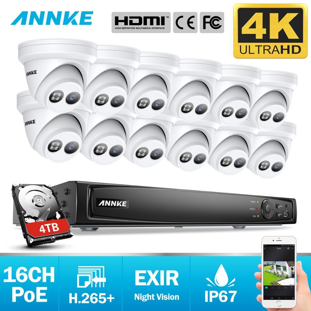 Système de sécurité vidéo réseau Ultra HD POE ANNKE 16CH 4K 8MP H.265 NVR avec caméra IP étanche 12X8 MP 30m EXIR Vision nocturne
