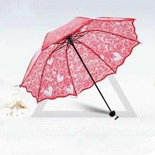 Heart Shape Pattern Transparent Lace Love Decoration Fold Umbrella Parasol Rain Women Regenschirm White wedding Bubble