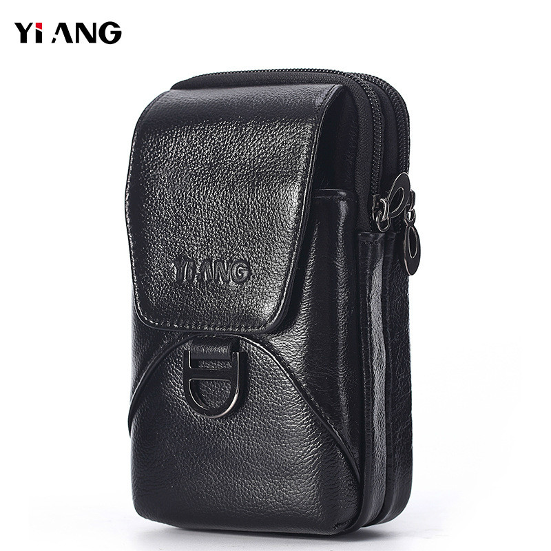Yi'ANG Brand Genuine Leather Casual Belt Cross Waist Fanny Pack Cell Phone Pouch Case Men's Shoulder Messenger Bag