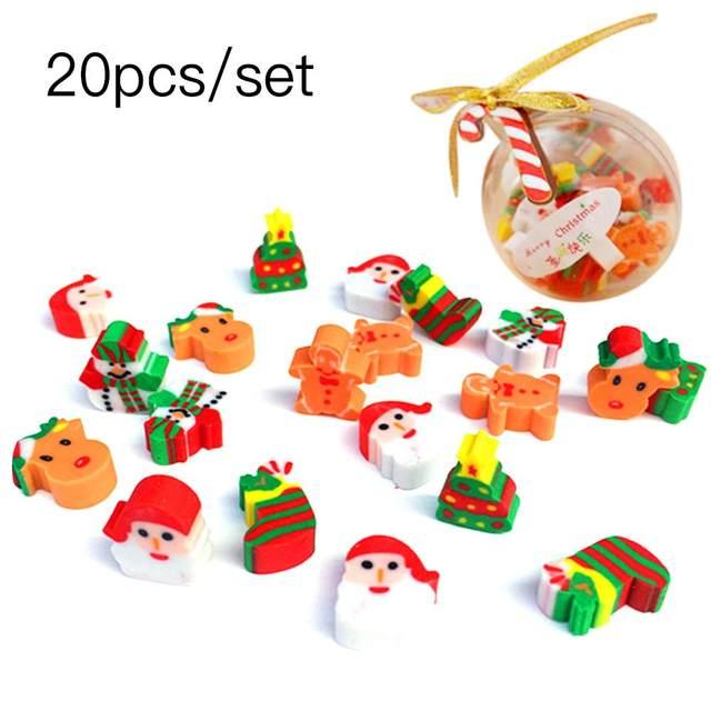 20PCS Christmas Gifts Santa Claus Snowman Eraser Transparent Packaging Ballpoint Pen Writing Eraser Children's Christmas Gift 15