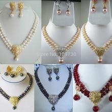 Ювелирные изделия 00845 2 ряда белый/розовый/черный жемчуг зеленый/красный камень ожерелье раковина Кулон Серьги(A0516