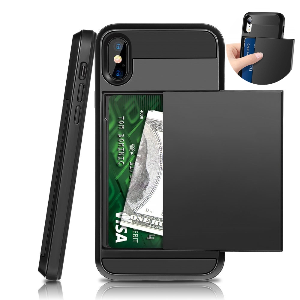 Slide Wallet Credit Card Slot PC Phone Case For Iphone 11 Pro Max XS XR X 7 8 6 6S Plus 5 5s Shockproof TPU Armor Cover Fundas