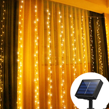 Solar Powered 300 LED Window Curtain Fairy Lights Copper Wire String Lights for Outdoor Wedding Party Garden Bedroom Decoration