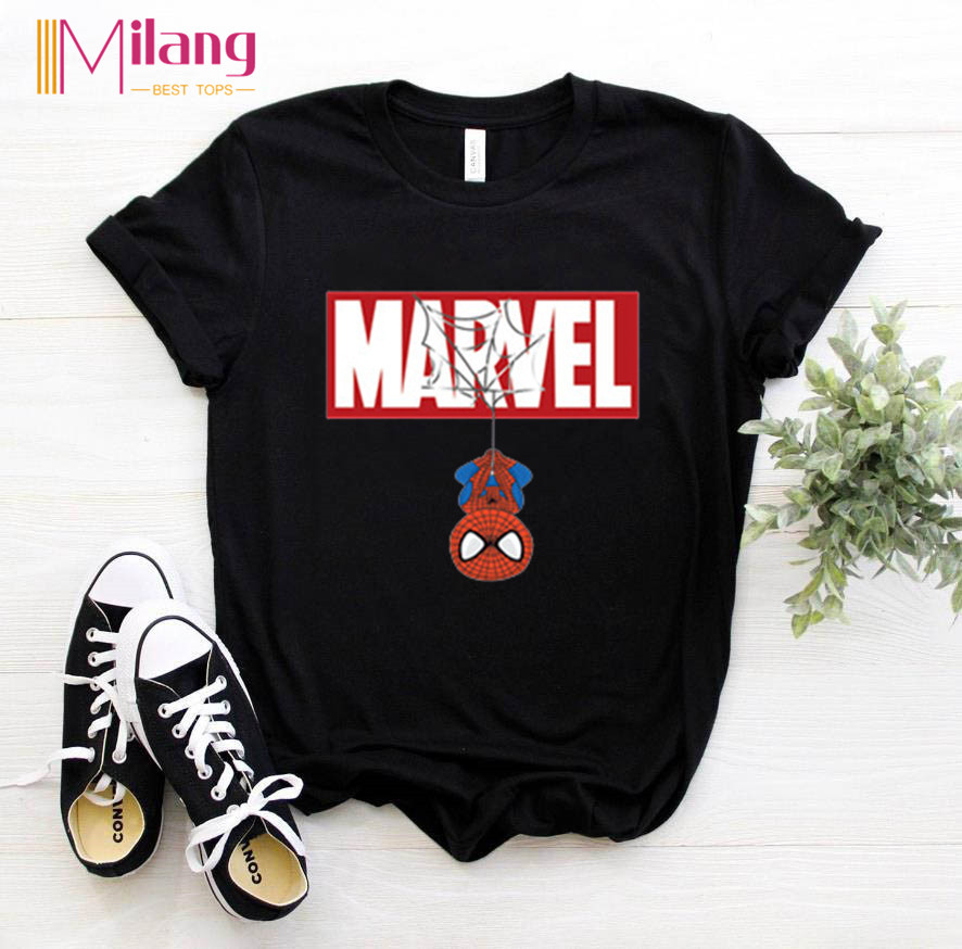 Women Marvel Spiderman Black T-shirts Girl Short Sleeve Tees Female 2020 Summer Brand Clothing Girl Tops