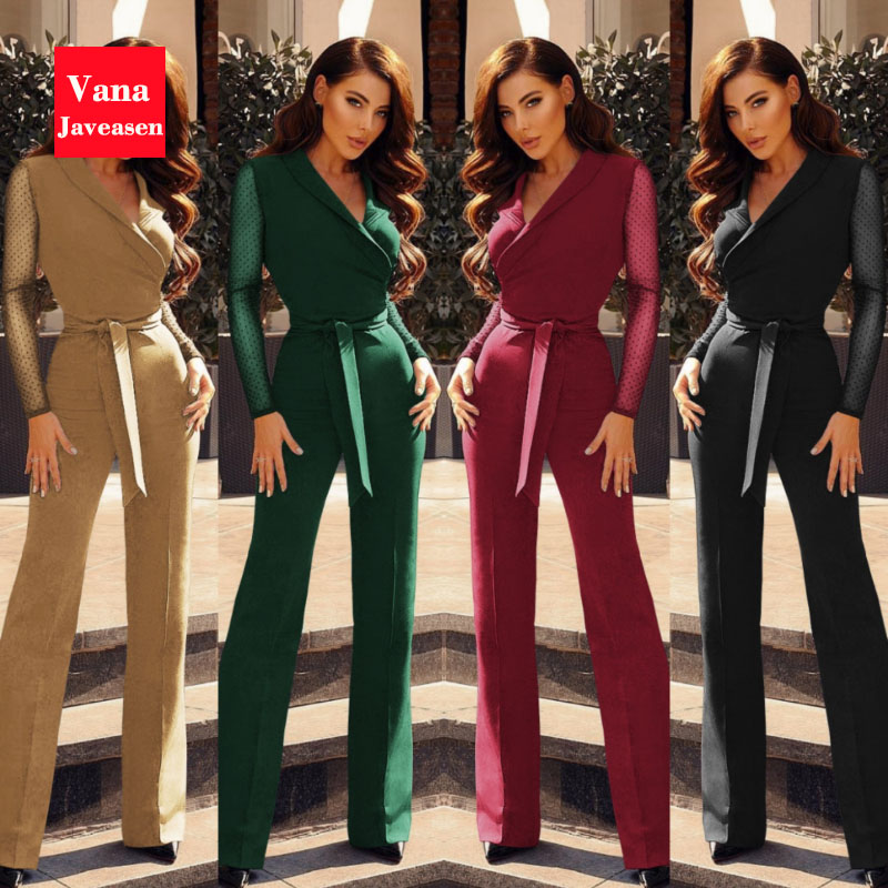 Vana Javeasen New Fashion Polka Dots Women Jumpsuit Formal Sashes Playsuit Long Sleeve Party Elegant Jumpsuit Bodysuit Rompers