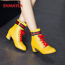 ENMAYLA Winter Boots Women PU Synthetic Lace-Up Round Toe Ankle for Square Heel Short Plush Mixed Colors Shoes