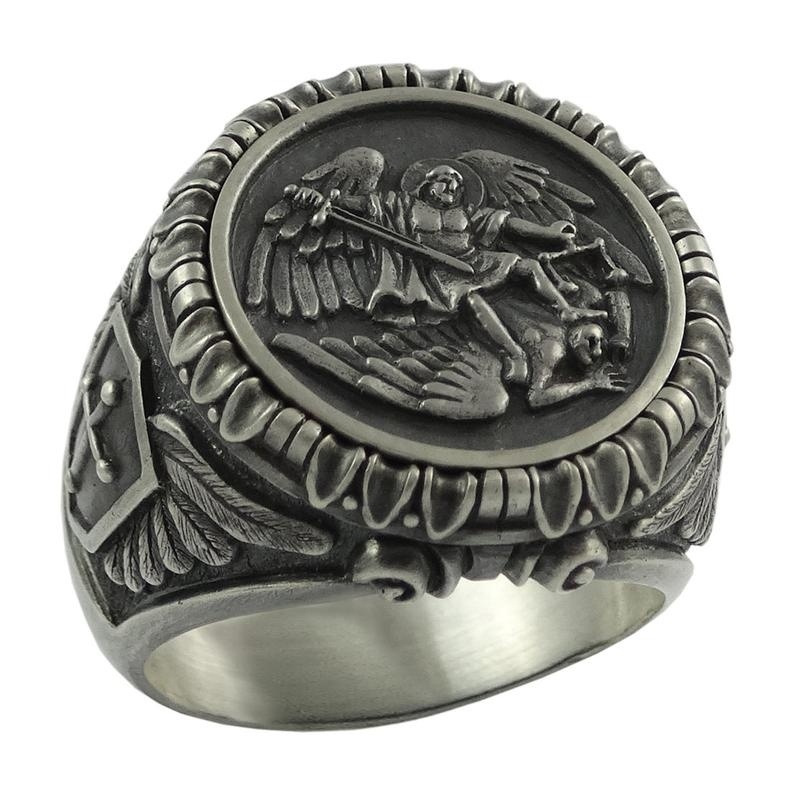 New Save and Protect Archangel Biker Rings Mens Knigts Templar Stainless Steel Ring Guardian Angel Jewelry image