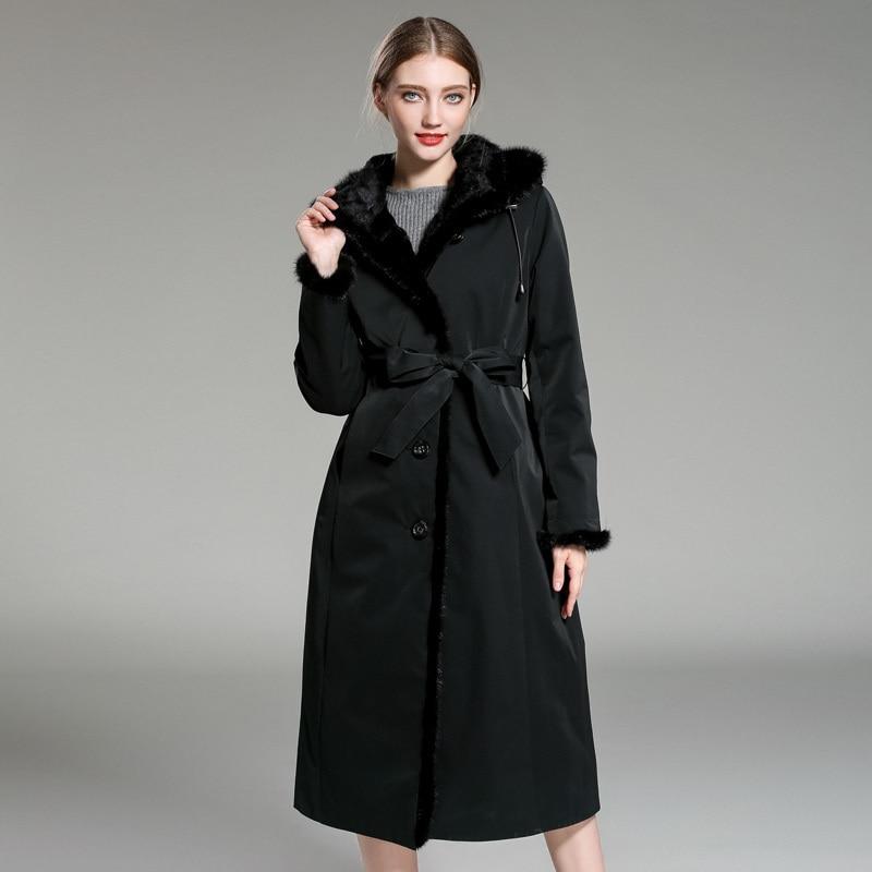 Fur Rabbit Natural Parka Real Fur Coat Winter Jacket Women Luxury Warm Fur Jackets For Women Korean Long Jacket MY4108 S