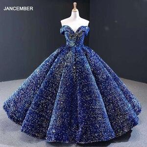 Image 1 - J66991 Meerdere Kleuren Beschikbaar Avondjurk 2020 Plus Size Off Shoulder Sweetheart Sequin Lange Shiny Prom Jurk